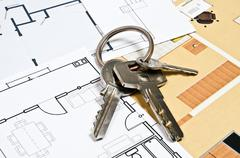 House plans and key Stock Photos
