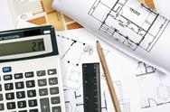 House plans and tools Stock Photos