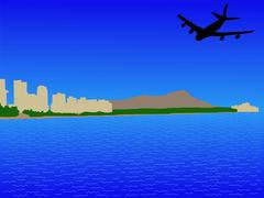 Stock Illustration of plane arriving at oahu
