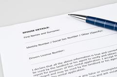 spouse details form - stock photo