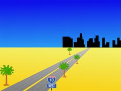 los angeles and interstate 10 - stock illustration