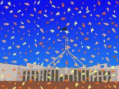Australian parliament in autumn Stock Illustration