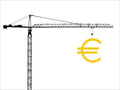 Crane with euro sign Stock Illustration