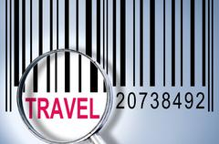 Travel on barcode Stock Photos