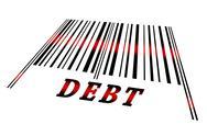 Debt on barcode Stock Illustration