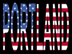 portland with american flag - stock illustration
