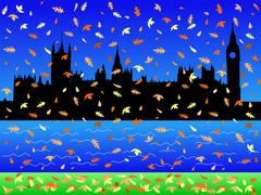 Parliament in autumn Stock Illustration