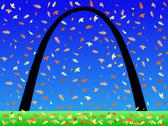 Stock Illustration of gateway arch in autumn