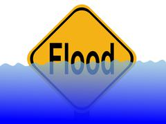 flood sign with water - stock illustration