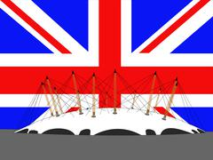 Stock Illustration of millennium dome and flag