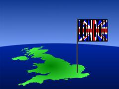 Stock Illustration of uk with london flag