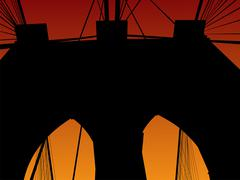 brooklyn bridge at sunset - stock illustration