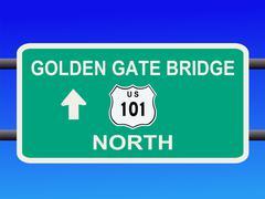 Golden gate bridge highway 101 sign Stock Illustration