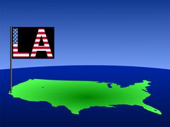 Usa with los angeles flag Stock Illustration