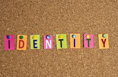 Identity word Stock Photos