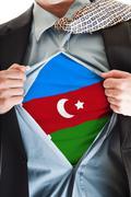 azerbaijan flag on shirt - stock photo