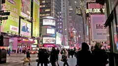 Times Square People Walking Snowing Winter Manhattan New York City NYC USA - stock footage