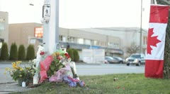 Roadside Memorial Marking Police Officer Death Stock Footage