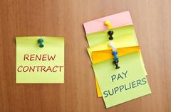 post it with renew contract - stock photo