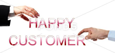Stock photo of happy customer words