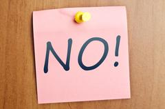 No! word post it Stock Photos