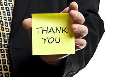 thank you post it - stock photo