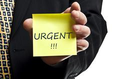 urgent notice - stock photo