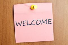 Welcome notice Stock Photos