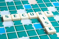 secure word made by letter pieces - stock photo