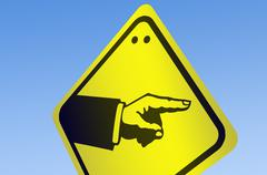 Hand pointing shape on road sign Stock Illustration