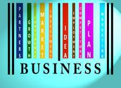 Business word on colored barcode Stock Illustration