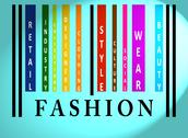 Fashion word on colored barcode Stock Illustration