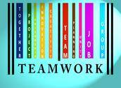 Teamwork word on colored barcode Stock Illustration