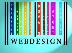 Stock Illustration of webdesign word on colored barcode