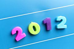 2012  word on blue board - stock photo