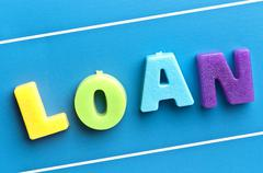 Stock Photo of loan word on blue board