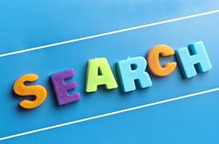 search word on blue board - stock photo