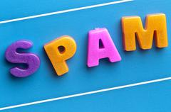Stock Photo of spam word on blue board