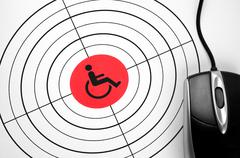 handicap  target and pc mouse - stock photo
