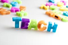 teach word - stock photo