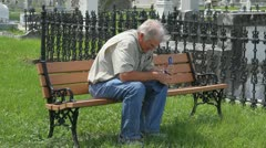 Widower Cemetery Bench - stock footage