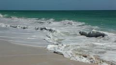 Wild beach (playa los cocos) caribbean. surf on the island of cayo largo. cub Stock Footage