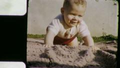 HAPPY Bouncing BABY Boy Infant Sandbox 1950s Vintage Film Home Movie 6062 Stock Footage