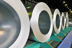 rolls of steel sheet - stock photo