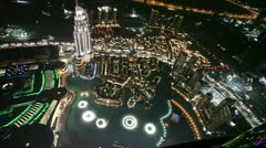 Burj khalifa performing fountain (dubai). the united arab emirates. Stock Footage