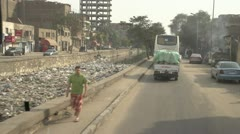 Drive plate, front Egypt Giza urban POV bus filthy canal, #2 Stock Footage