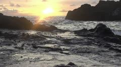 Slow motion hawaii shoreline breaking waves dawn 240fps 24p Stock Footage