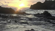 Slow motion hawaii shoreline breaking waves dawn 240fps 24p Stock Footage