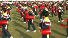 Chinese pupils are playing drum Stock Footage