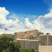 the city walls of dubrovnik, croatia. oldtown - stock photo